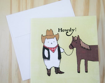 """CARD: """"Howdy!"""" featuring a cowboy cat and his stunning steed"""