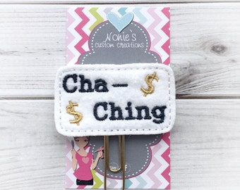 Cha Ching Paper Clip - Planner Paper Clip - Planner Paperclip - Planner Accessories - Planner Feltie -Cha Ching Paperclip - Cha Ching Feltie