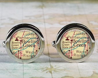 Bowling Green State University cuff links, map cufflinks Bowling Green Falcons graduation gift alumni gift Father's Day wedding anniversary