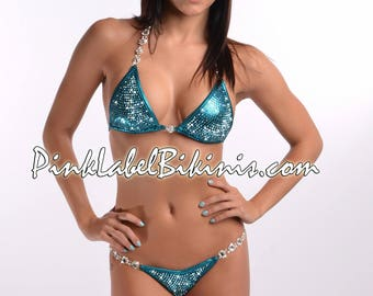 Legendary Teal Ultimate Bling Crystal Competition Bikini Swimsuit Fitness NPC IFBB Posing Suit