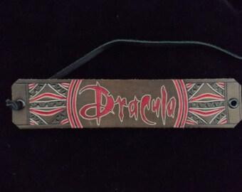 DRACULA carved leather bracelet