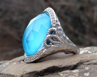 Gabriel & Co. Turquoise Rock Crystal Dome Ring - Large Rose Cut Aqua Stone Ring - Hammered Gemstone Ring - Cosplay Ring -  WhistlingGypsyVTG