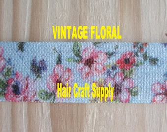 VINTAGE FLORAL ELASTIC From 1 - 5 yards - Blue with Pink Flowers