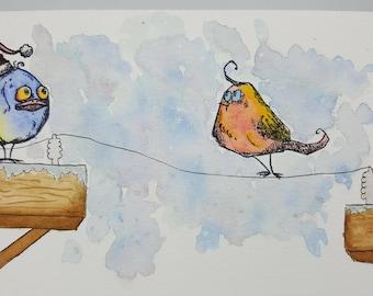 Christmas Bird card