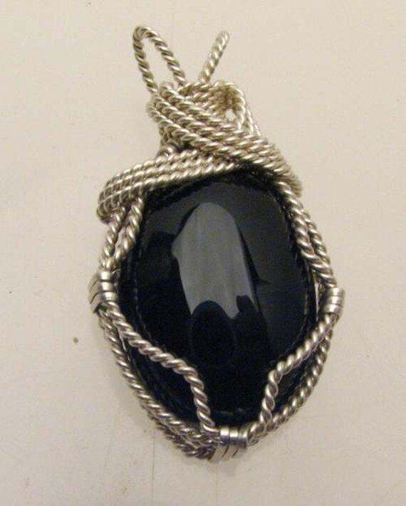 Handmade Solid Sterling Silver Wire Wrap Tree Goldstone Pendant