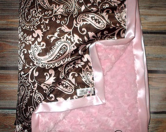 Light Pink and Brown Paisley Silky Soft satin and Plush Minky Blanket in all sizes for infant child and adult