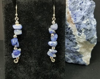 Polished Sodalite Pebbles and Sterling Silver Earrings