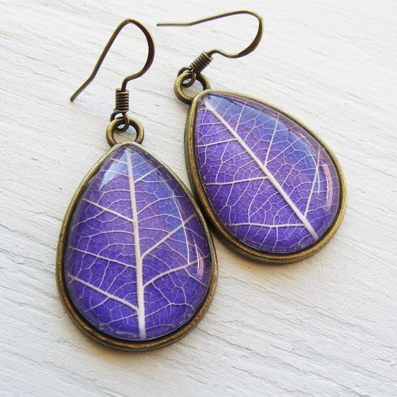 Real Leaf Earrings - Lavender Teardrop Pressed Leaf Earrings - Silver and Antique Brass