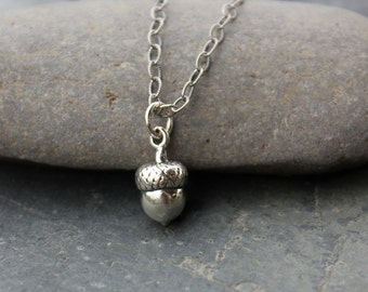 Medium Acorn Sterling Silver Necklace on textured chain - Achievement & Success  -woodland - free shipping USA - girls to womens plus sizes