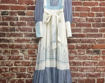 Sold in store. Do not buy.,Vintage Seventies 1970s Cotton Gunne Sax Gown Sheer Sleeves