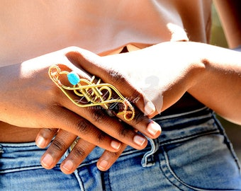 Statement Blue&Maroon Brass ring,Striking Brass Afrocentric Ring,African jewelry