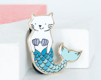 Cat Mermaid Lapel Pin, White and Blue Mercat, Blue Mermaid Tail, Purrmaid Enamel Pins, Hard Enamel Pin, Gold Cat Pins