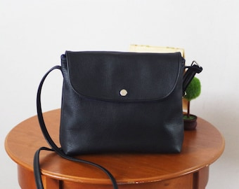 Black small black leather crossbody bag with flap