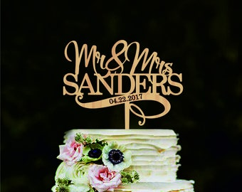 Mr and Mrs wedding cake topper Personalized name wedding cake topper Wedding cake decorations Custom cake topper for wedding Gold topper