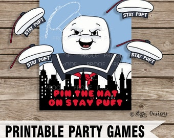"Ghostbusters Themed ""Pin the Hat on Stay Puft"" Party Game Printable [INSTANT DOWNLOAD]"