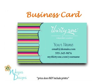 Thirty-One Preppy Pop Business Card, Direct Sales Marketing, Independant Consultant, Directs Sales Business Card