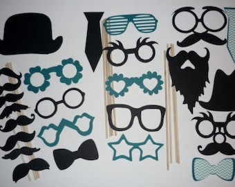 Photo Booth Prop Set mustache lip hat glasses ties #25 pieces (2074DC)