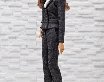 "ELENPRIV black jacquard pants for Fashion royalty FR ITBE 16"" and similar body size dolls"