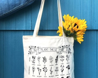 PRE-ORDER: Plant These to Help Save Bees Eco-Friendly Tote Bag / save the bees / pollinator preservation / environmental awareness