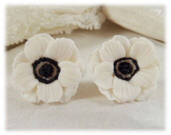 White Anemone Flower Earrings Stud or Clip On - Anemone Jewelry, Anemone Flowers