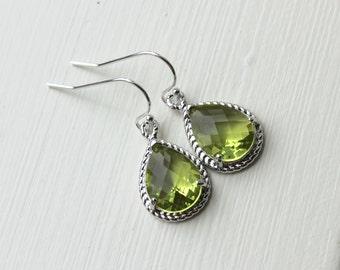 Peridot Earrings Silver Apple Green Jewelry Teardrop Silver Rope Style - Bridesmaid Earrings Wedding Jewelry Bridal Earrings Christmas Gift
