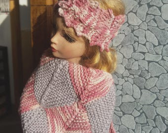 Ellowyne Wilde or 40 cm BJD: cotton pink and gray/spring poncho