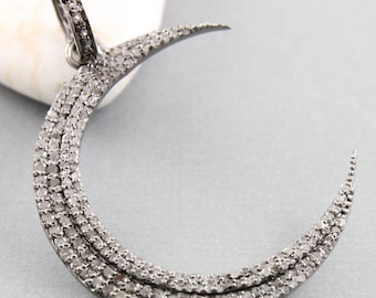 Pave Diamond Pendant, Pave Diamond Moon Pendant, Diamond Moon Pendant, Moon Pendant, (DP-1482)