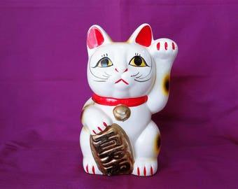 VJ694 : Maneki Neko Lucky Cat,Japanese Maneki-neko lucky cat ceramic figurine piggy bank,Vintage,made in Japan