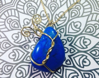 Dyed Blue Howlite Necklace