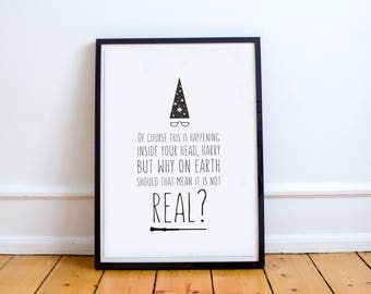 Printable Wall Art, Printable Art, Printable Quote, Harry Potter, Dumbledore, Hogwarts, Real Print, Modern Art