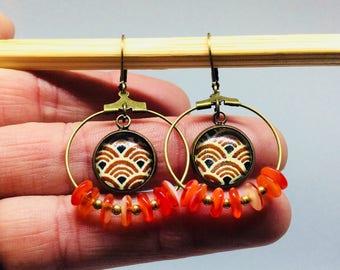 Japan orange hoop earrings