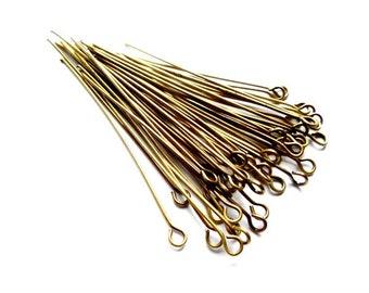 100 Antique Bronze Eye Pins - 15-11