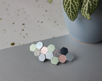 Barrette Hava leather and fabric glitter hexagonal shape, green pastel, blue, gray, pink, silver