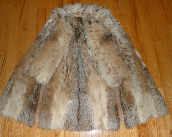 Beautiful  genuine  LYNX   fur coat   from the 70's  - Sz M (10-12)