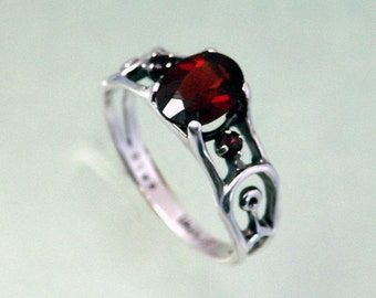 QCF 8x6 Garnet with 2mm Garnet Accent Stones or the Stones of Your Choice in Sterling Silver~ Sizes 4 to 9