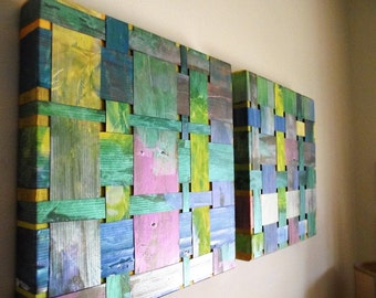 RESERVE LISTING Art Upcycled Billboard Vinyl weaving blue green lime woven iridescent office decor wall hanging 12 x 12 wedding housewarming