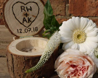 Wooden Etched Ring Box, Log Ring Box, Personalised Ring Box