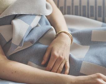 Merino Lambswool Mitte Blanket - Skye
