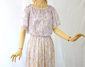 Vintage 70s Dress Toni Todd Sheer Floral Print w Split Sleeves