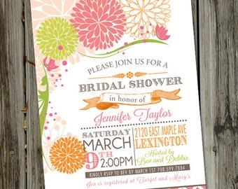 Sweet birdie bird bridal shower invitation bird cage pink and orange bridal shower invitation floral pink and orange bridal shower invitation printable filmwisefo
