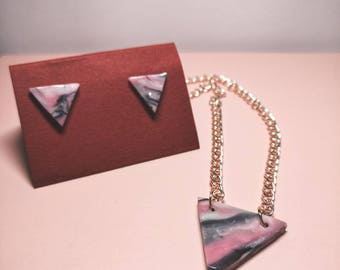 Marble geometric plate jewelry set in silver and gold