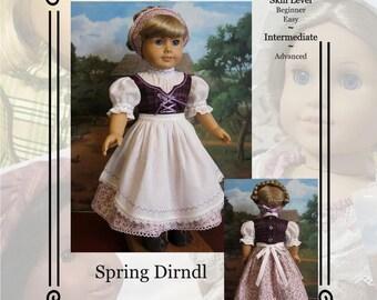"PDF Pattern KDD-17 ""Spring Dirndl"", An Original KeepersDollyDuds Design. Doll Clothes Pattern fits 18"" Dolls"