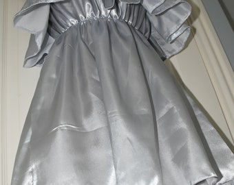 Slithery silver pretty little silky satin sissy dress, Sissy Lingerie