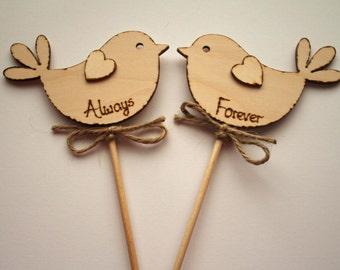 Wedding Cake Topper Always & Forever Love Bird  Rustic  Wooden Cake Topper