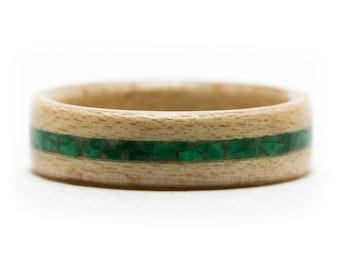 Maple Wood Ring Inlaid With Malachite Stone, Bentwood Ring, Wooden Ring