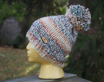 Knit Chunky Hat Removable Pom Pom // The HUDSON // Knitting // Striped Colors // Adult Sizing