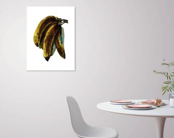 The Big Bananas  (Side View) - 18x24 Watercolor Banana Still Life Large Scale Poster - Oversized Print Statement Art