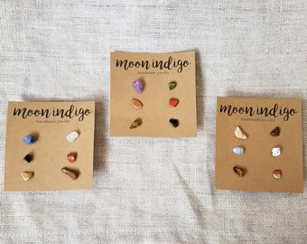 Natural Tiny Gemstone Stud Earrings, Crystal Stud Earrings, Mix and Match