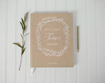Rustic Country Wedding Guestbook. Custom Rustic Chich Guest Book. Kraft Brown Wedding Decor. Kraft Wedding Book Journal. Rustic Wedding