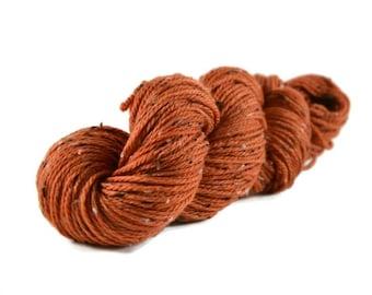 Superwash Merino, Aran weight yarn, hand dyed, Donegal Tweed Yarn, 85/15 Superwash Merino/Nep, Orange, Aran Tweed yarn - Pumpkin